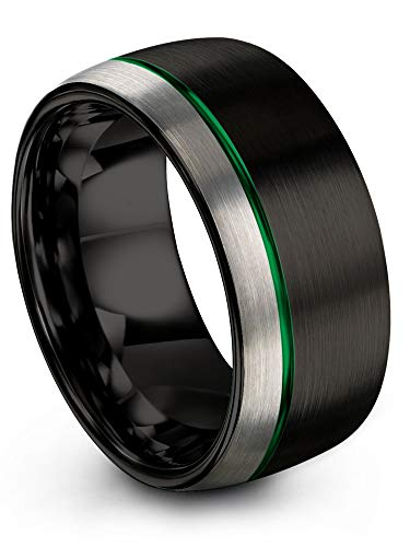 Chroma Color Collection Tungsten Carbide Wedding Band Ring 10mm for Men Women Green Offset Line Black Interior with Dome Grey Exterior Half Brushed Polished Comfort Fit Anniversary Size 13