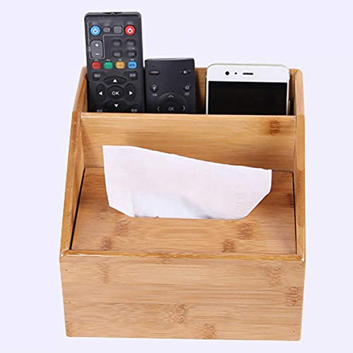 (Wooden Caddy Box with Compartment Desktop Storage Organizer - Remote Control Holder, Tissue Box Case, Pen Pencil Holder, Multi-Functional - Home Office Supplies(Single))