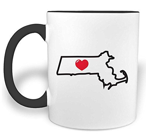 I Heart Massachusetts - 11 Ounce Ceramic Coffee Mug with Black Handle