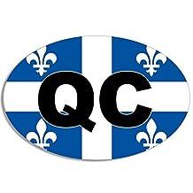 Oval QC Quebec City Flag Sticker (canada decal)