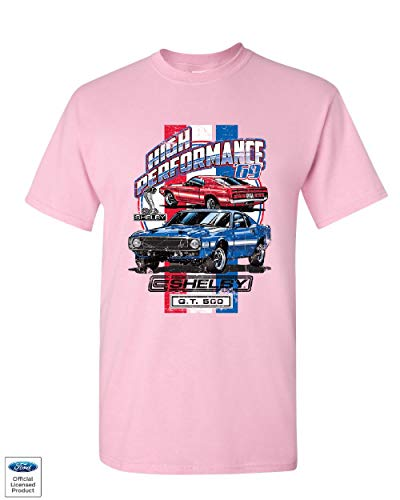 High Performance 1969 Shelby GT500 T-Shirt Ford Mustang Cobra Mens Tee Shirt Light Pink M (1967 Shelby Gt500 Eleanor Super Snake For Sale)