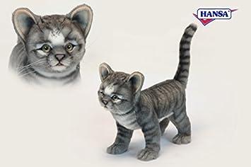 Standing Grey Kitten Plush Soft Toy by Hansa. 30cm. 6574 by Hansa