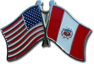 Peru Friendship with US Flag Lapel Badge Pin