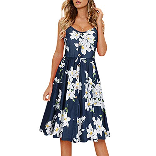 HIRIRI Women's Summer Sundress Spaghetti Strap Button Down Dress with Pockets Evening Party Midi Dress Blue