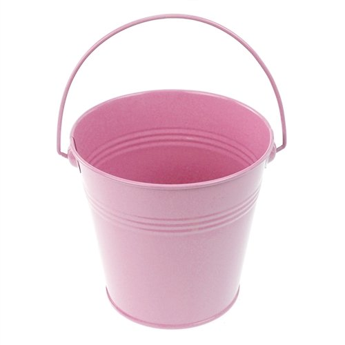 Homeford Firefly Imports Metal Pail Buckets Party Favor, 5-Inch, Light Pink, ()