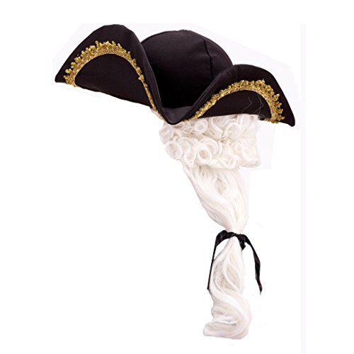 Child Colonial Style Hat With White Wig And Feather Costume Accessory (Founding Fathers Costumes)