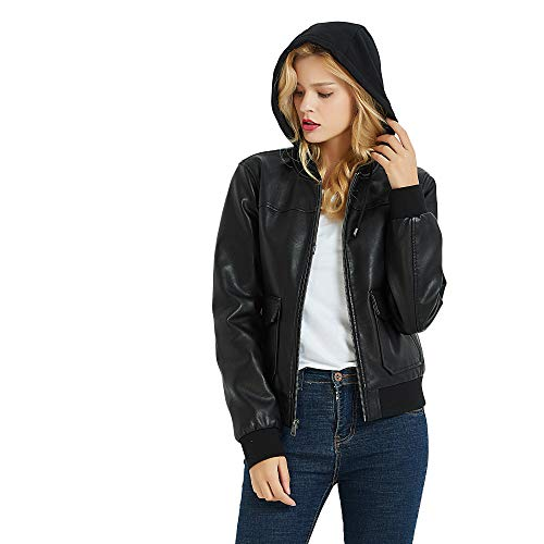 PANAPA Women's Lambskin Touch Faux Leather Bomber Jacket with Hood