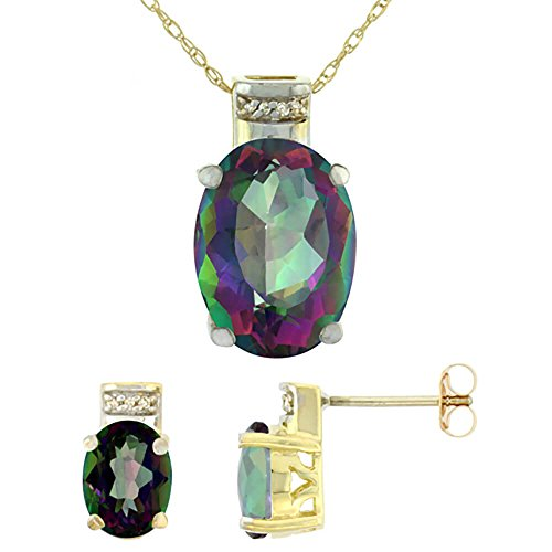 Jewellery World Bague en or jaune 9carats ovale topaze mystique naturel Boucles d'oreilles et pendentif Set Accents de diamant