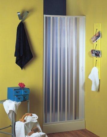 Nischenfalttür   Nischendusche   Duschfalttür   Rimini   PVC transparent   80-100x 185 cm, weiss