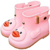 AMSKY❤Infant Kids Children Baby Cartoon Duck Rubber Waterproof Boots Rain Shoes (24, Pink)