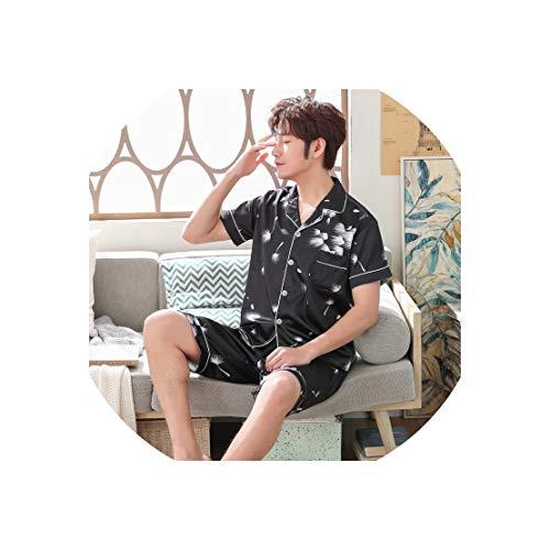 Men's Pajamas Silk Shorts Short-Sleeved Thin Stain Pajamas Men Sleepwear Leisure Homewear Suit Plus Size,C17,L