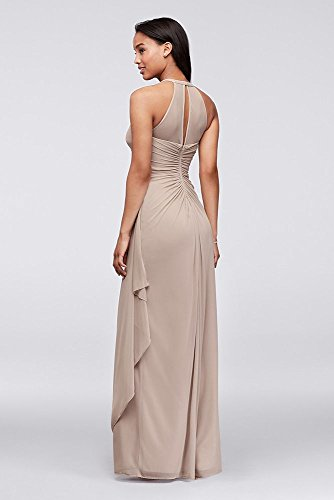 F15662 Dress Biscotti Bridesmaid David's Bridal Illusion Neckline with Long Style Mesh Sleeveless XwZvPqHa
