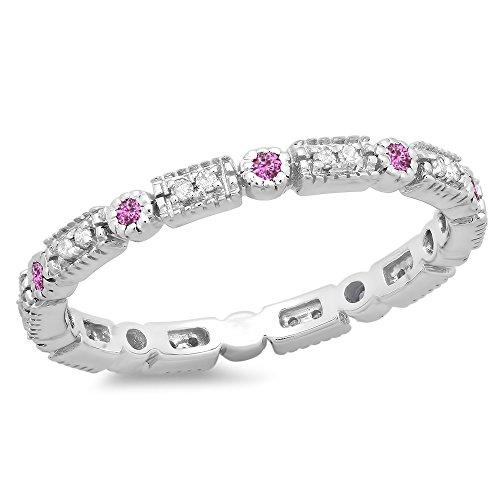 - DazzlingRock Collection 14K White Gold Round Pink Sapphire & White Diamond Ladies Wedding Eternity Stackable Band (Size 8)