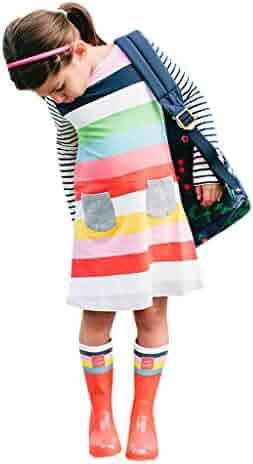 9a173b9d0b Kehen Kids Toddler Girls Rainbow Stripes Print Princess Dress Long Sleeve  Sundress Spring Outfits Cotton Clothes