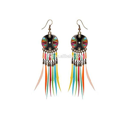 Prime Clearance Sale & Deals Day 2017-ValentoriaVintage Ethic Feather Drop Earrings Dangle Handmade...