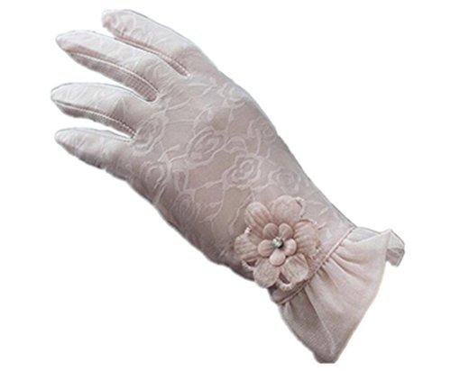 (リアルスタイル) Real Style 紫外線をしっかりガード!! タッチパネル UVカット 日焼け止め手袋 手袋 ショート グローブ 薄手 メッシュ 清涼 花 フラワー 滑止め付 女性 レディース