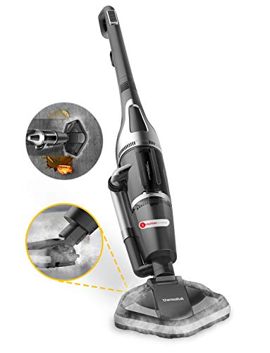 Thermostat All in One Steam Vacuum Cleaner and Steam Mop with Microfiber Mop Pad & 12kPA Strong Suction Power for Carpet, Hardwood, Ceramic Tile, Granite and Mable Floor (Black)