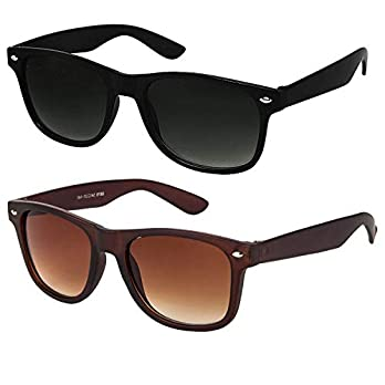 ELEGANTE Combo of 2 Men's Sunglasses (WYFBLKBRNCMB, 55, Black and Brown)