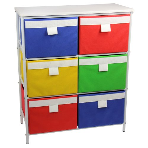 Household Essentials  Metal Storage Unit with 3 Shelves and 6 Removable Multi-Colored Bins, White