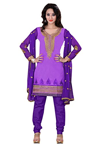 Vibes Women's Georgette Salwar Suit Dress Material (V121-1008 _Blue _Free Size)