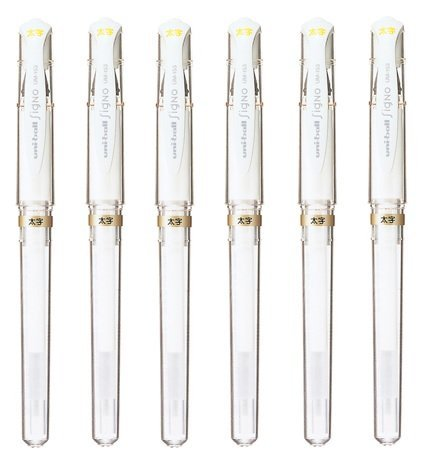 Uni-Ball Signo Broad Point Gel Impact Pen White Ink, 6 pens per Pack (japan import) Komainu-Dou Original Package (2, DESIGN 1)