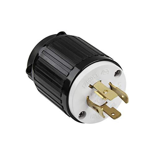 ENERLITES Industrial Grade 20A 125/250V Locking Plug, NEMA L14-20P, 3P, 4W, 66421-BK, Black