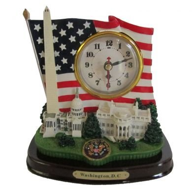 D.C. Monuments and US Flag Desk Clock