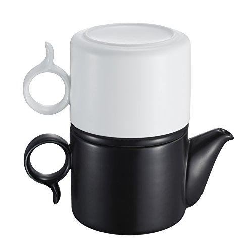 ZENS Lifestyle Tea for One Teapot with Infuser 8 ounces, Black and White, Tea Coffee Maker