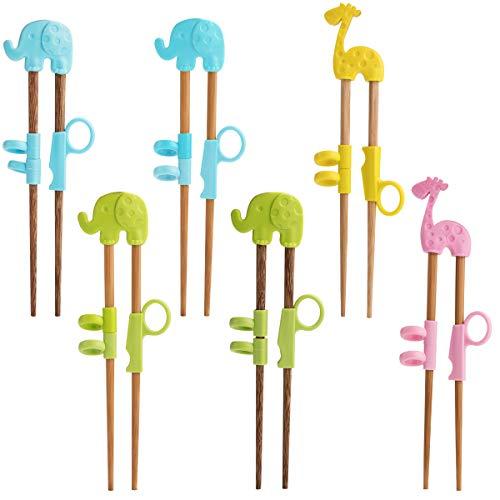 (Chopsticks,Children Training Chopsticks for Beginners,6 Pairs Training Chopsticks Helper Multi Animal Style Design Set, Natural Wooden Training Chopsticks)