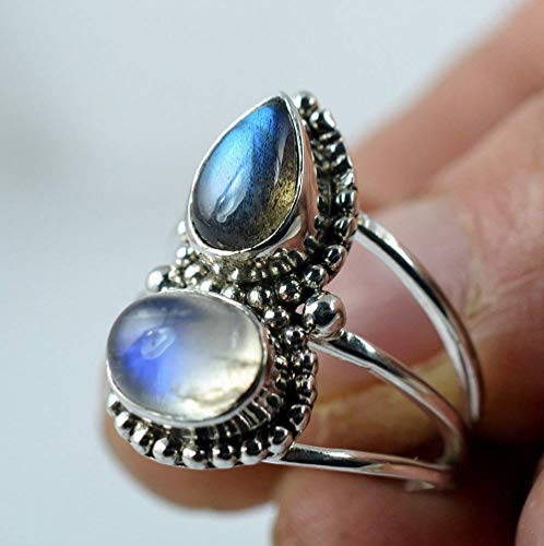 - Rainbow Moonstone, Labradorite 925 Solid Sterling Silver Handmade Ring # 3 to 13