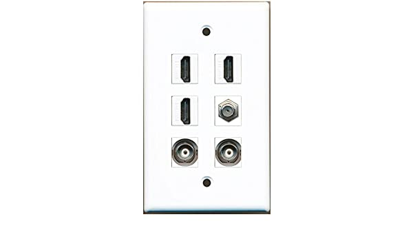 F-Type Wall Plate RiteAV 3 Port Coax Cable TV