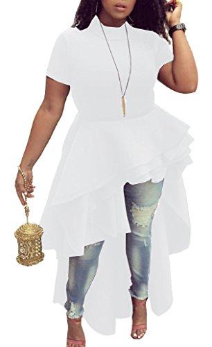 Top Shirt Dress (Women Ruffle High Low Asymmetrical Irregular Short Sleeve Tops Shirts Blouse Dress White XL)