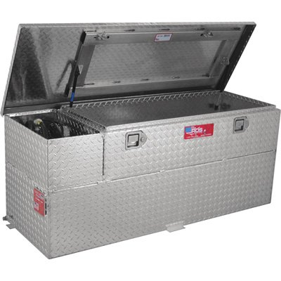 RDS Fuel Transfer/Auxiliary Tank/Toolbox Combo with 8 GPM Pump - 60-Gal. Capacity, Diamond Plate, Model# 73326