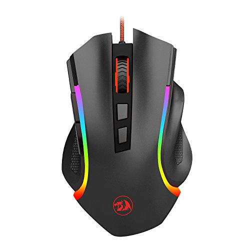 Gaming Mouse LED RGB Wired MMO PC Gaming Mouse Ergonomic High-Precision 7 Buttons Programmable Gaming Mouse Total 8 Buttons with 7 Backlight Modes 7200 DPI M602A-RGB Griffin by Redragon-[New Version]