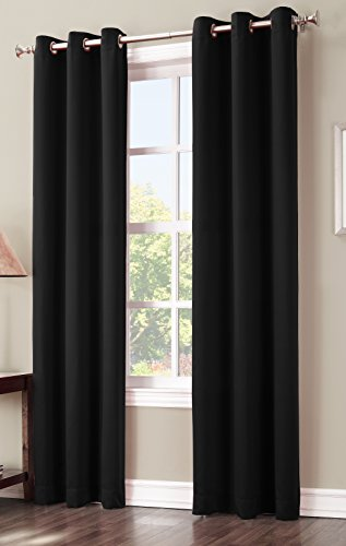 Sun Zero Easton Blackout Energy Efficient Curtain Panel, 40″ x 84″, Black