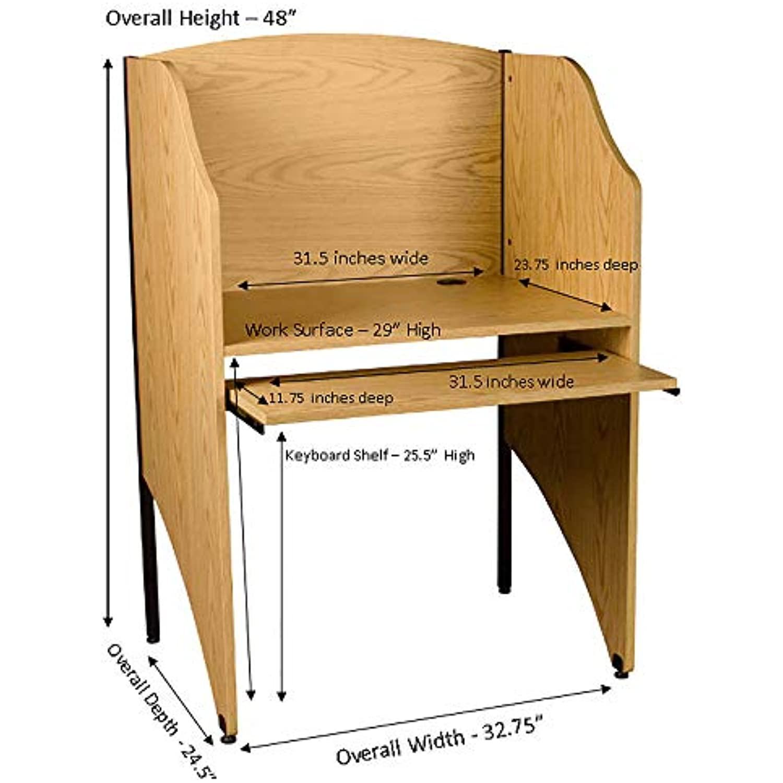 Norwood Commercial Furniture Single-Sided Study Carrel- Starter Unit- Oak, Oak_Starter Unit (NOR-T1003-SO)