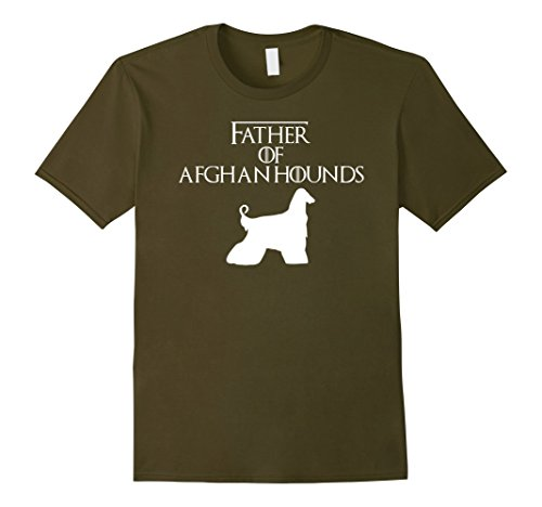 Mens Father of Afghan Hounds Dog T-Shirt & Gift E010549 2XL Olive (Afghan Hound Mens T-shirt)