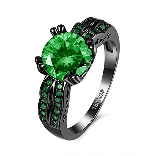 FENDINA Black Gold Ring 18K Rings Jewelry Emerald Green Crystal Engagement Wedding Band