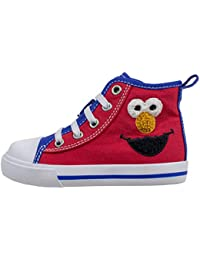 Elmo Shoes, Hi Top Sneaker with Laces, for Toddlers and Kids, Size 6 to 12