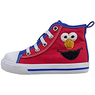 Sesame Street Hi Top Tennis Shoe, Elmo and Cookie Monster Slip-On Sneaker with Zipper, Toddler Size 6 Red Blue