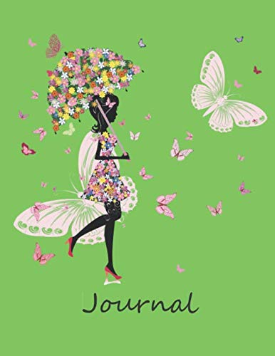 Journal: For Women and girls, w/ butterflies and flowers. Daily Journal/Notebook. (Volume 4- lime green)