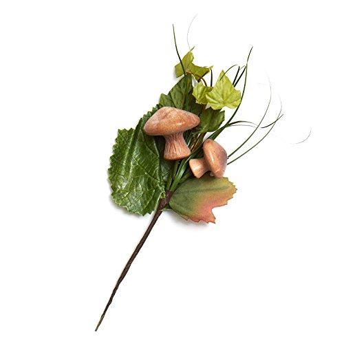 Wispy Artificial Leaf and Mushroom Floral Picks for Indoor Decor - 6 Picks (Leaf Wispy)