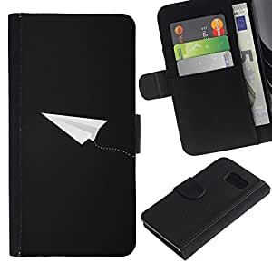 KingStore / Leather Etui en cuir / Samsung Galaxy S6 / Avión Gris Blanco Fly Piloto