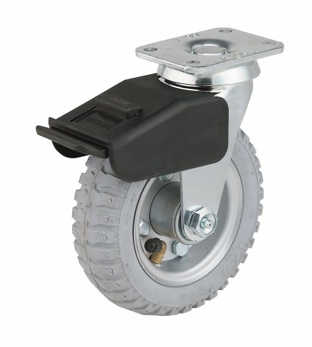 Lb Soft Rubber 200 - E.R. Wagner Pneumatic Plate Caster, Swivel with Total-Lock Brake, Soft Rubber on Steel Wheel, Ball Bearing, 200 lbs Capacity, 6