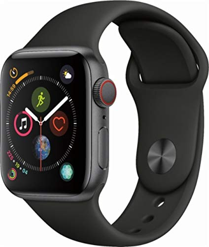 Apple Watch Series 4 (GPS+Cellular) Aluminum Case Unlocked Compatible with iPhone 5s and Above (Space Gray Aluminum Case with Black Sport Band, 40mm)
