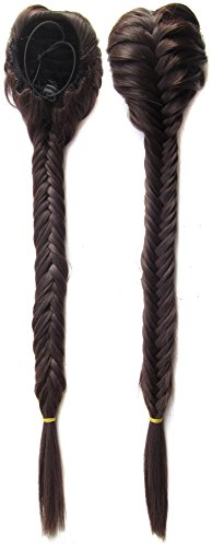 SWACC Long Fishtail Braid Ponytail Extension Synthetic Clip in Drawstring Ponytail Hairpiece (Dark (Ponytail Braids)