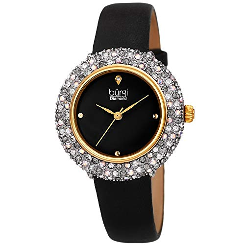 (Burgi Swarovski Colored Crystal Watch - A Genuine Diamond Marker on a Slim Leather Strap Elegant Women's Wristwatch - Mothers Day Gift -BUR227BK (Black))
