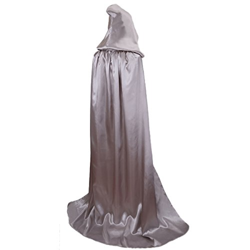 BIGXIAN Extra Long Hooded Satin Cloak, Halloween Christmas Fancy Cape Various Colors (Silver)