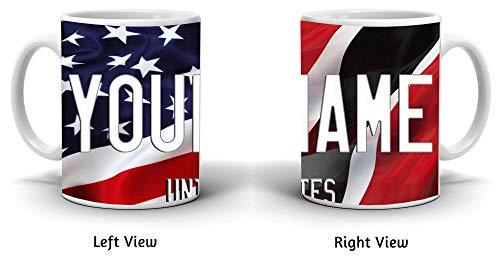 BRGiftShop Personalize Your Own Mixed USA and Trinidad and Tobago Flag 11oz Coffee Mug