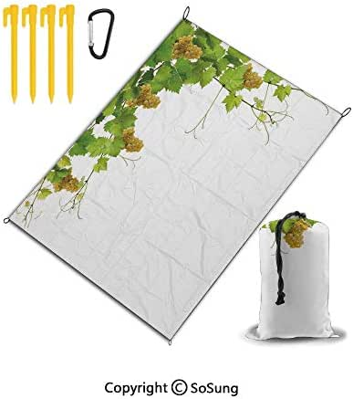 Outdoor & Picnic Blanket Sand Proof and Waterproof Portable Beach Mat for Camping Hiking Festivals Super Large Beach Mat Perfect for Family,Grapes Home Decor,Collage of Wine Leaves on Bunch Farming Na